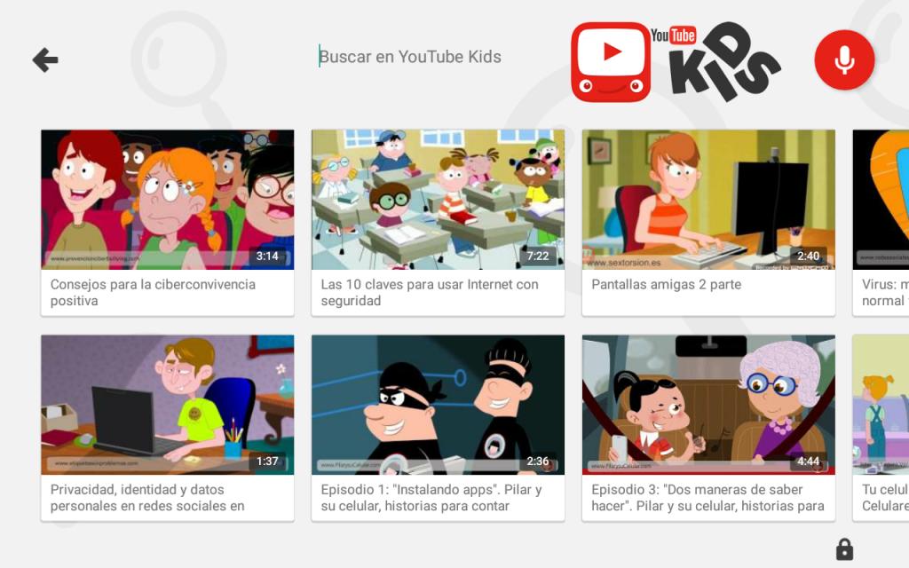 Contenido educativo de PantallasAmigas en app YouTube Kids