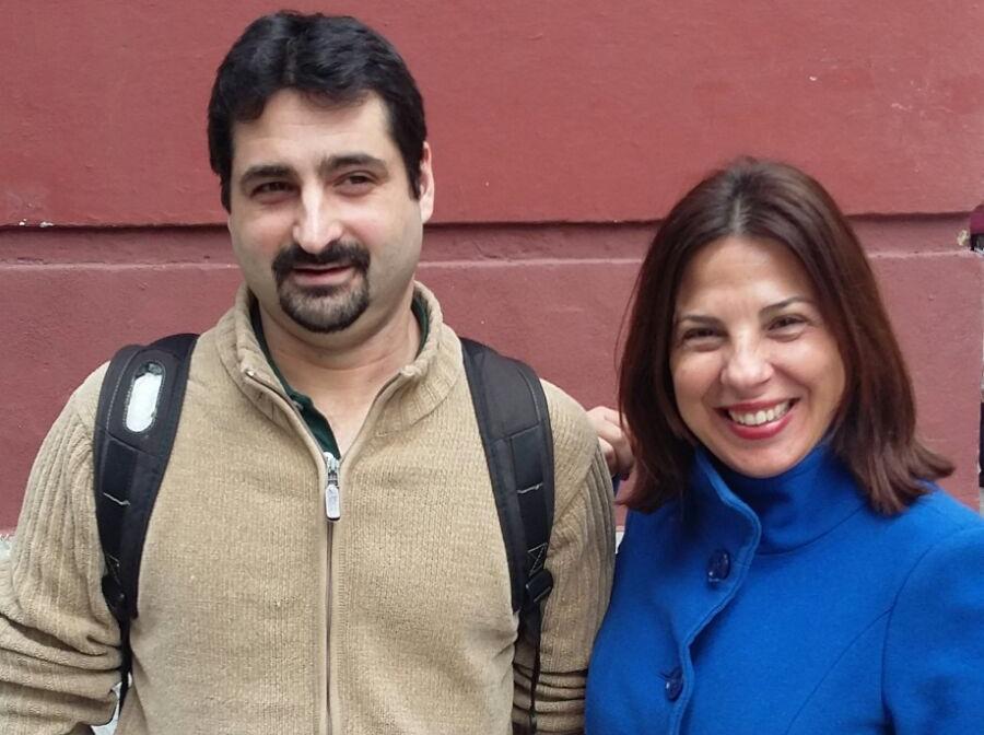 Urko Fernández, director de proyectos de PantallasAmigas, junto con Lorena Crusellas Díaz, fundadora de la Associação Prevenir.jpg